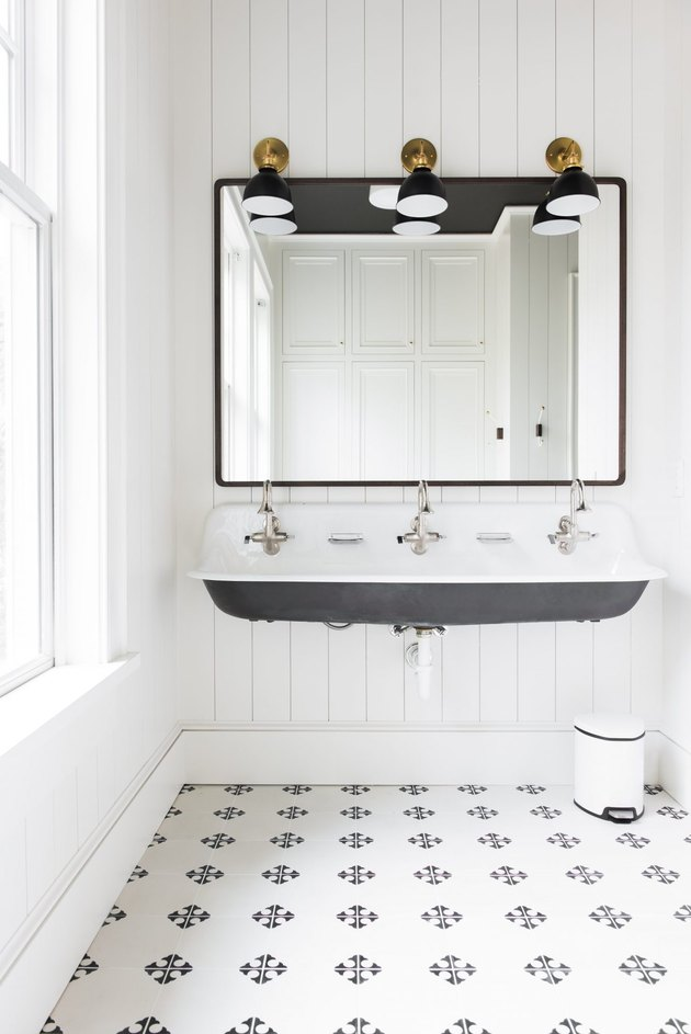 farmhouse flooring idea with tile in the bathroom