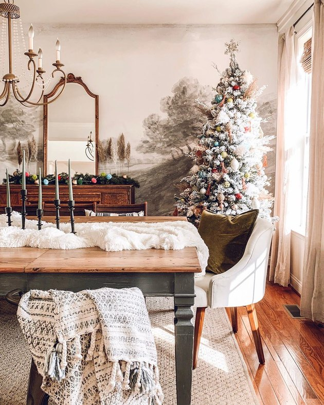 colorful farmhouse Christmas tree idea in dining room