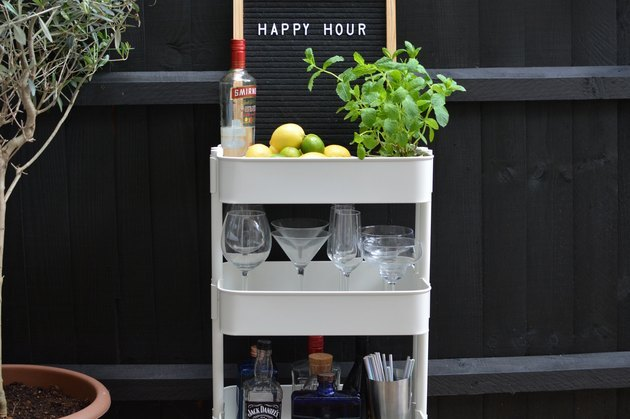 Change the Raskog cart into a swanky outdoor drinks station.