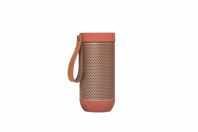 coral and rose gold Bluetooth speaker