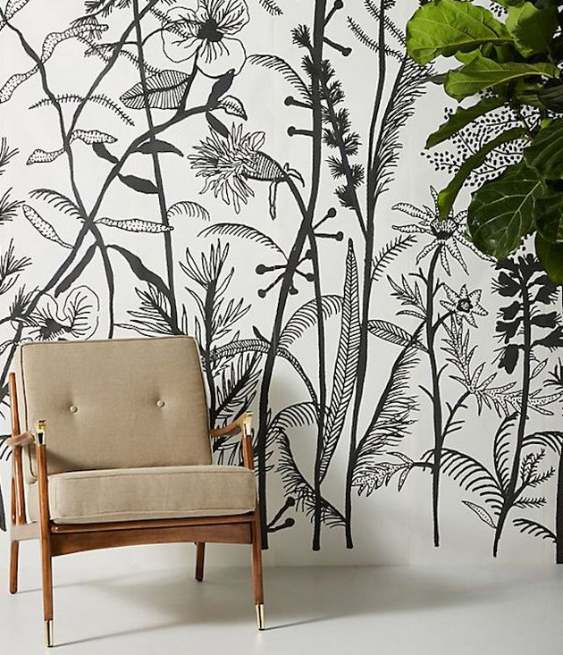 black and white botanical mural