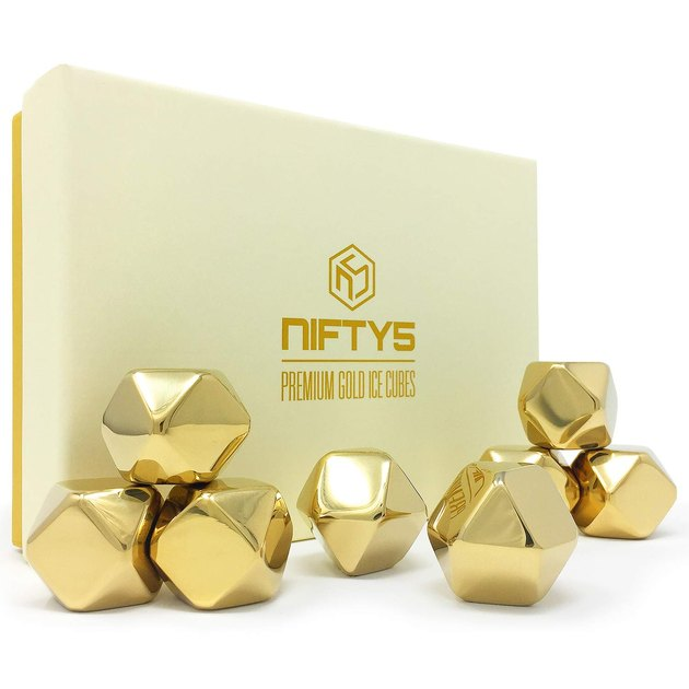 geometric gold whiskey stones