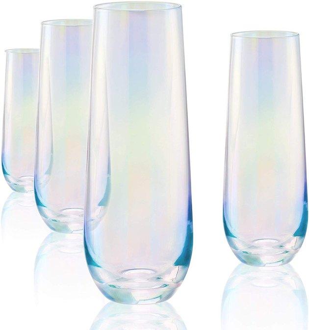 iridescent stemless champagne flute glasses