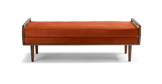 midcentury modern bench with walnut frame and orange velvet upholstery
