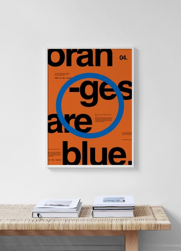 modern art print in blue, orange, and black typography