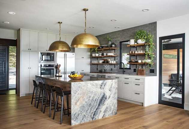 Waterfall Countertop in Kitchen by Dichotomy Interiors