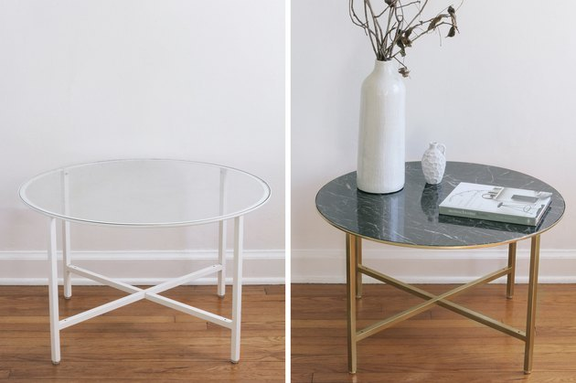 IKEA glass table makeover using marble paper and gold paint.