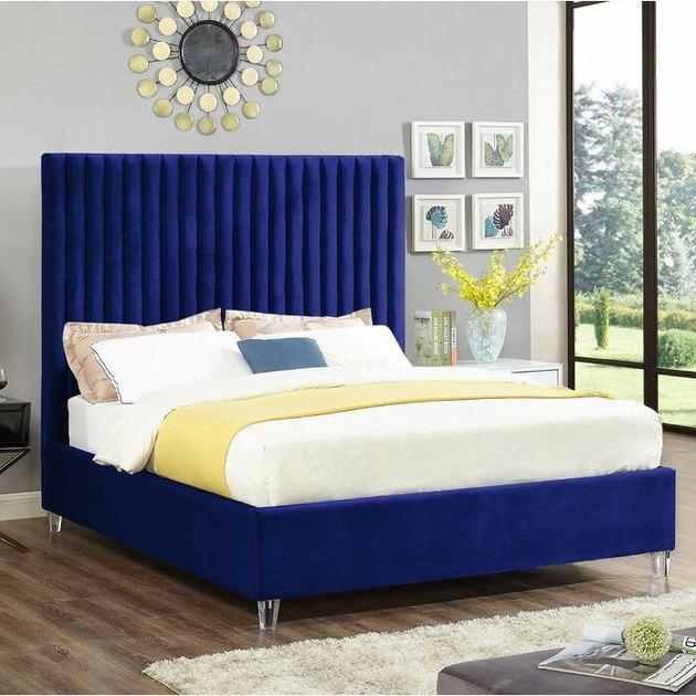 bedroom with blue bed frame