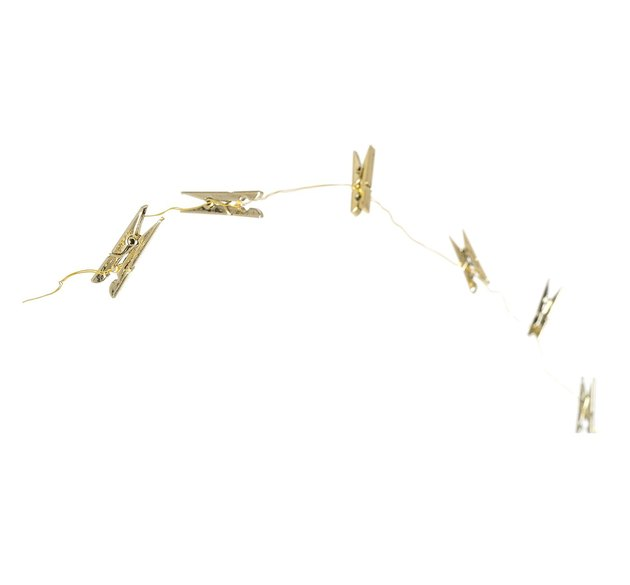 gold string lights with clips