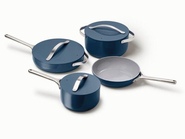 four blue pans