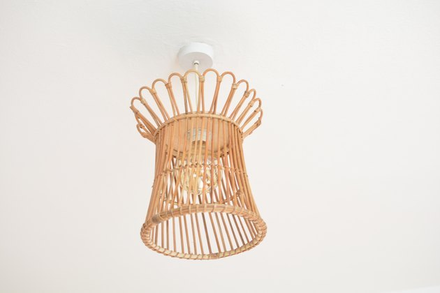 Pendant light made from IKEA bohemian basket.
