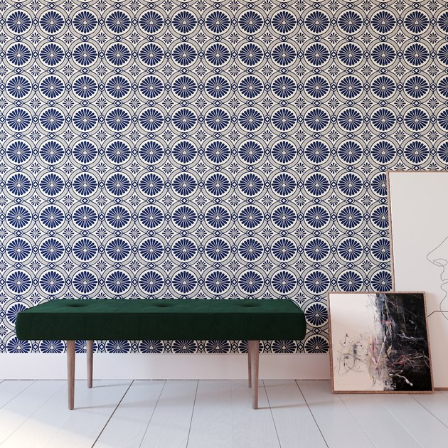 blue printed removable wallpaper