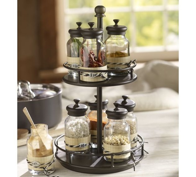 pottery barn rotary metal spice rack