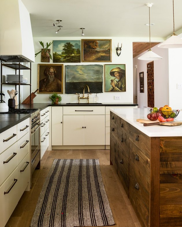 ivory kitchen cabinets with reclaimed wood kitchen island