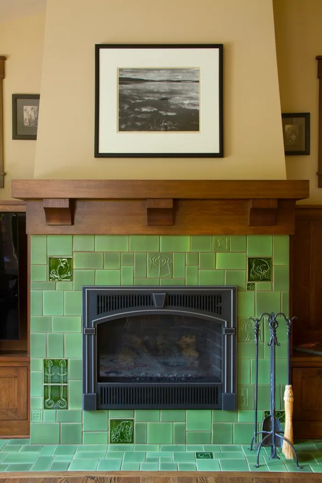 craftsman fireplace with green tile