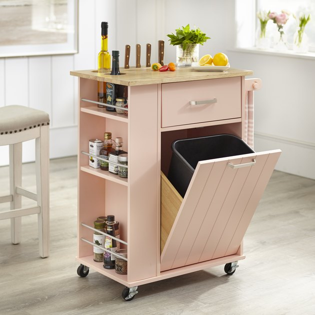 multifunctional rolling kitchen island cart with trash can