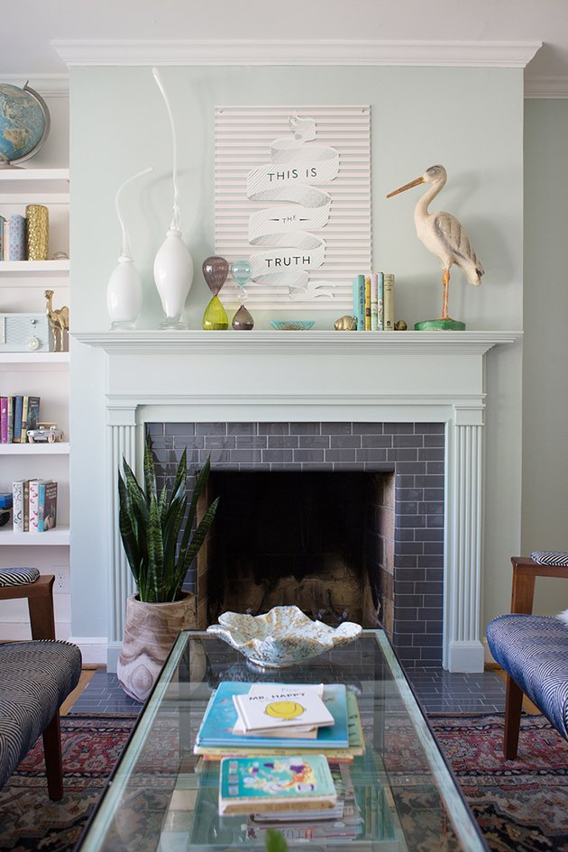 stick-on subway tile on traditional fireplace