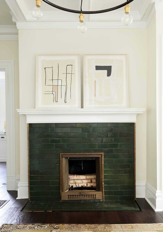 vintage forest green subway tile in craftsman bungalow
