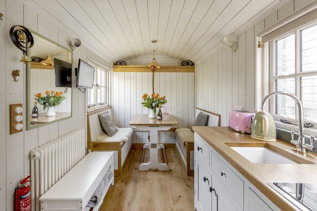 tiny house interior with kitchen and dining room