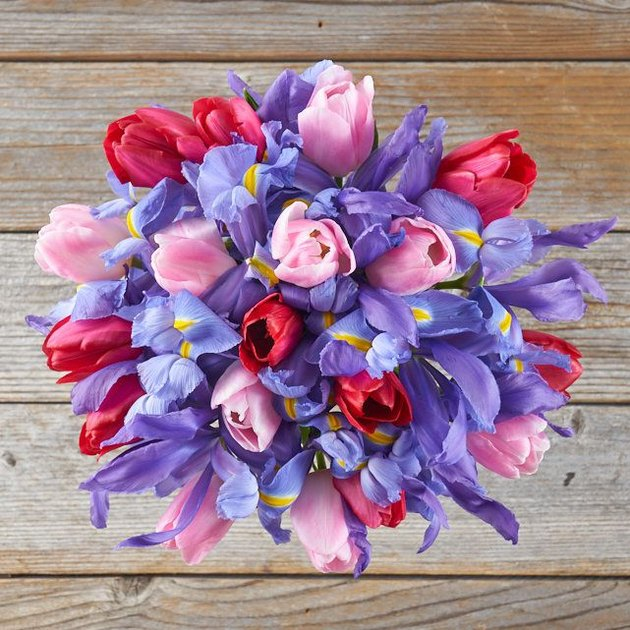 purple, pink, and red floral arrangement