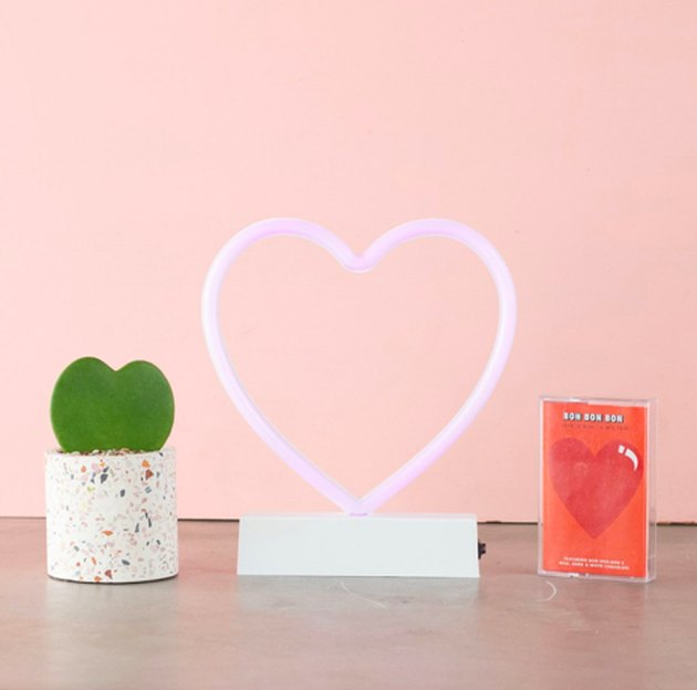 succulent, heart neon light, and mixtape gift