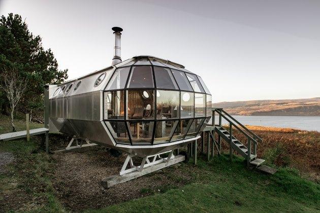 modern glass tiny house
