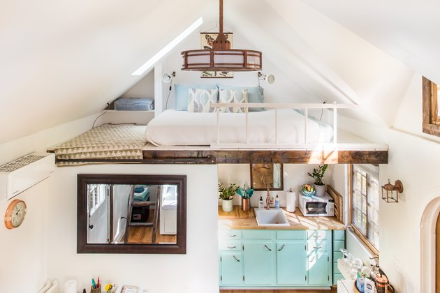 interior of tiny house with lofted sleeping space