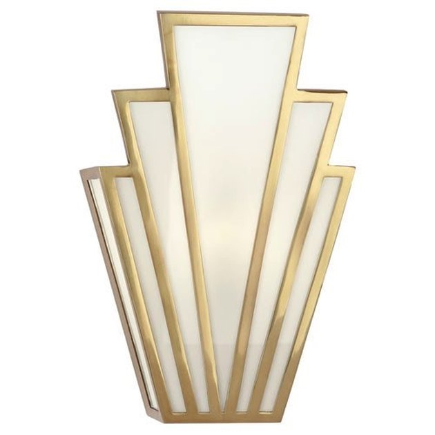 Art deco lighting in brass and white