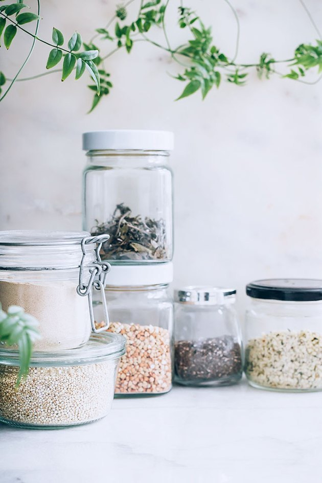 dried goods in glass containers