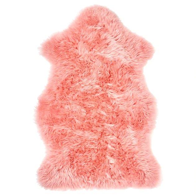 pink sheepsking rug