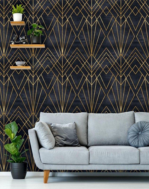 black and gold art deco wallpaper
