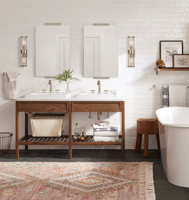 midcentury double open bathroom vanity with self-rimming sinks and marble countertop