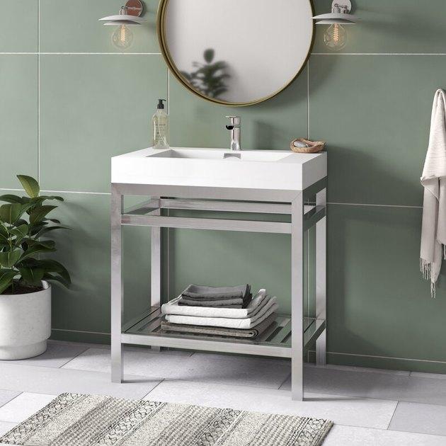 stainless steel and acrylic open bathroom vanity