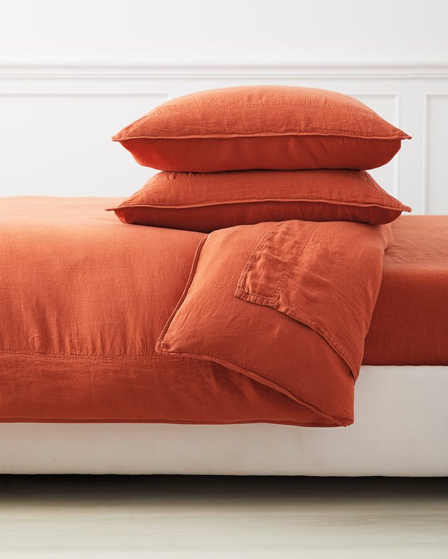 Serena & Lily terracotta linen duvet cover and pillows