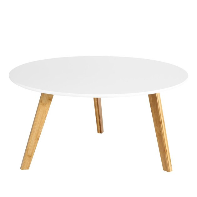 Round white mid-century coffee table with wooden legs