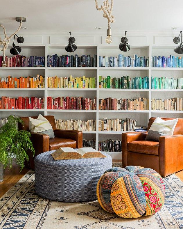 bookshelf organized by color