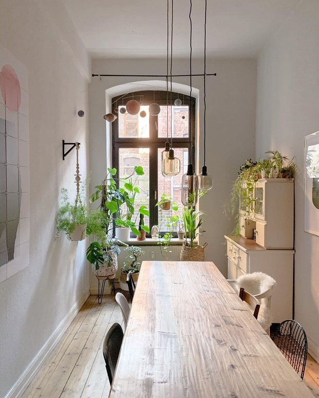 Boho apartment decor with exposed bulb light fixture and houseplants in kitchen