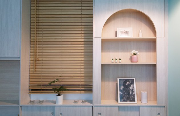 Wood built in shelving
