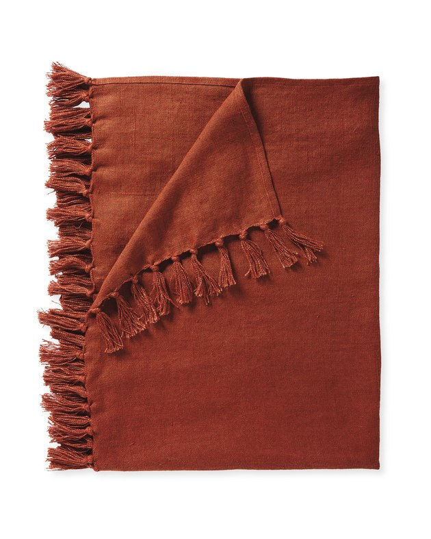 Serena & Lily terracotta linen throw with fringe