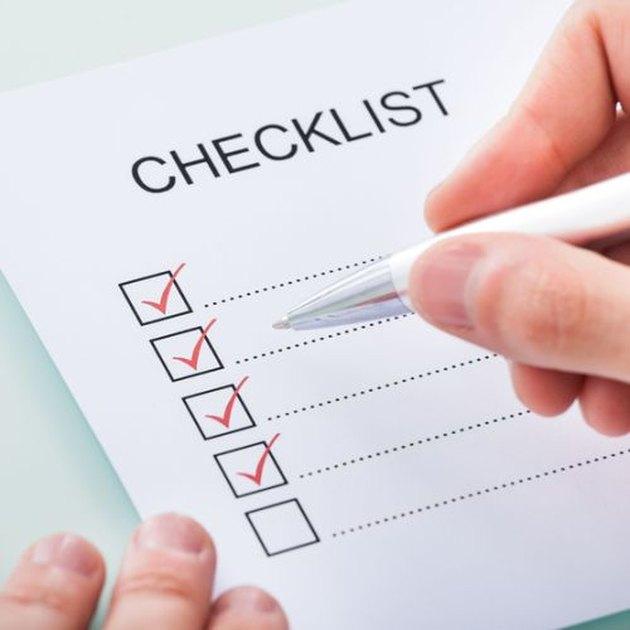 Paint preparation checklist.