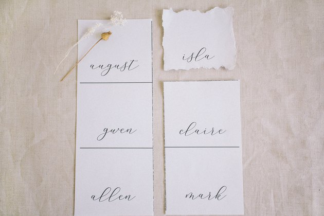 Guest names printed onto cardstock with one square torn out