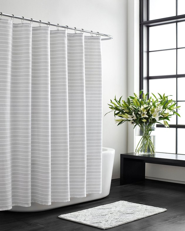 textured cotton shower curtain with stripes