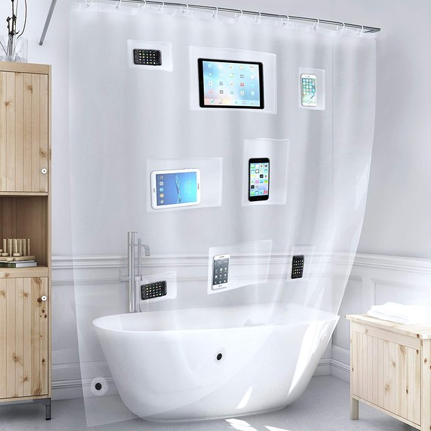 pocketed plastic shower curtain with storage