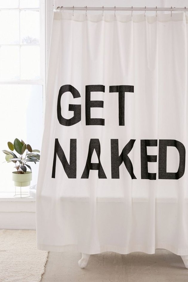 shower curtain with text