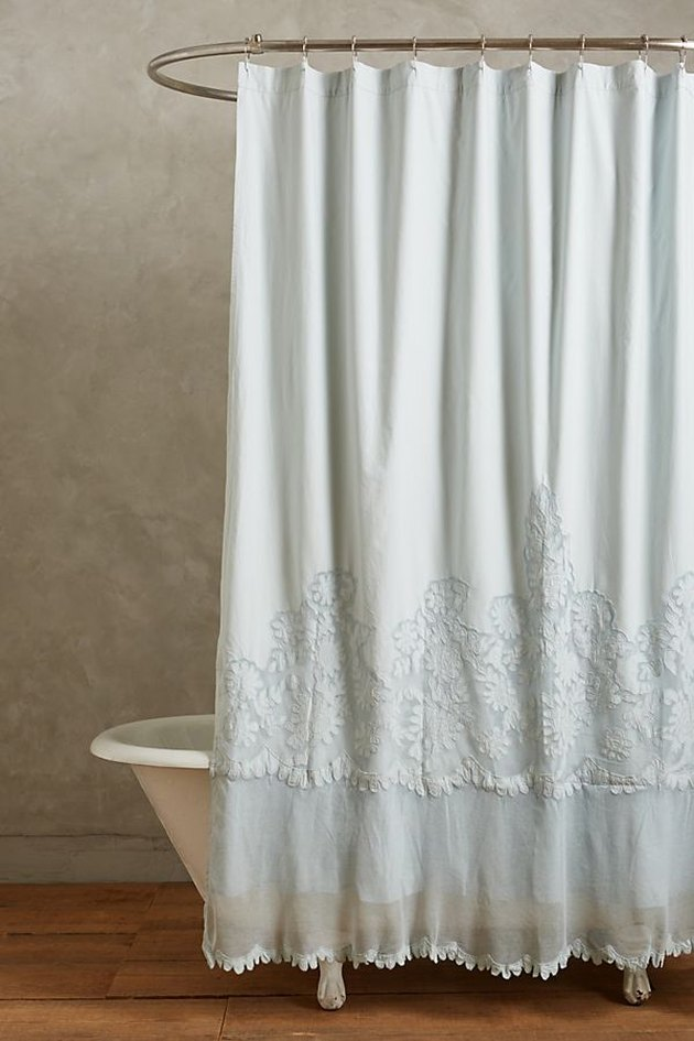lace shower curtain with embroidery