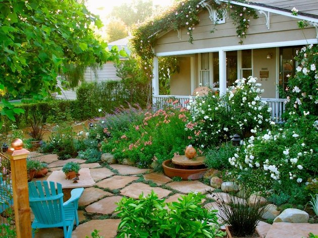 House with garden plantings.