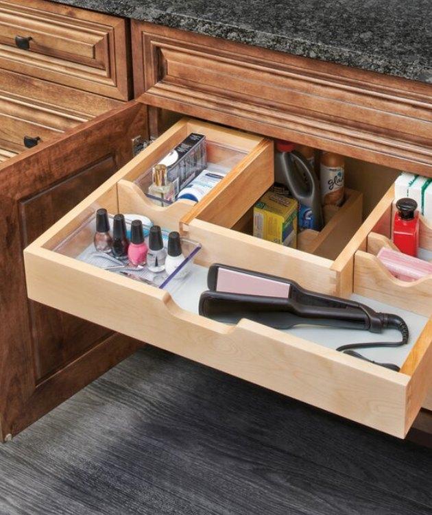 U-shaped under sink wood drawer