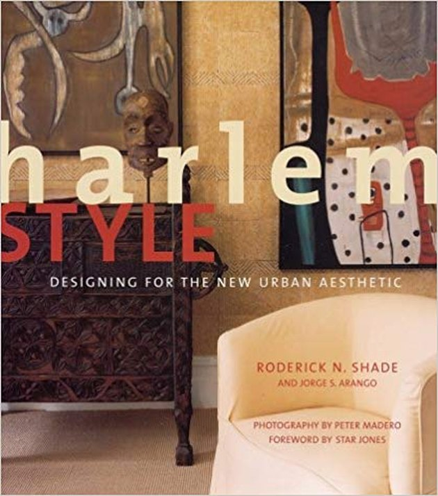 "book with the title ""harlem style: designing for the new urban aesthetic"" with image of an interior featuring a beige chair"