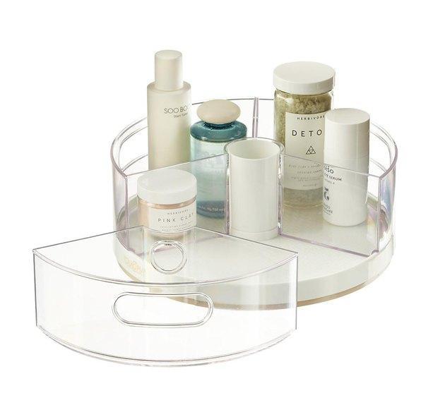 Clear plastic lazy susan with removal sections.