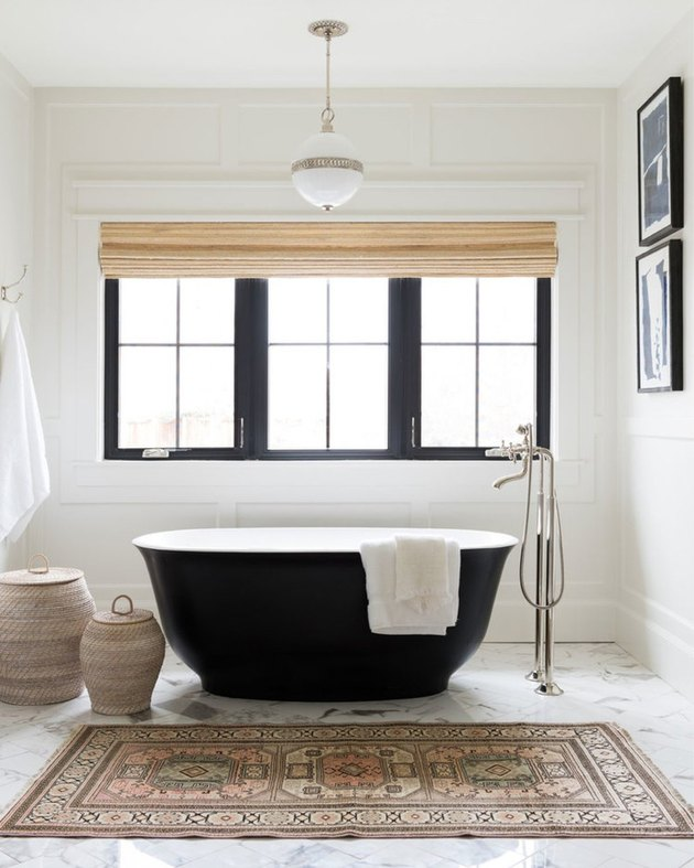 pendant lighting bathroom idea for white bathroom with black tub in the center
